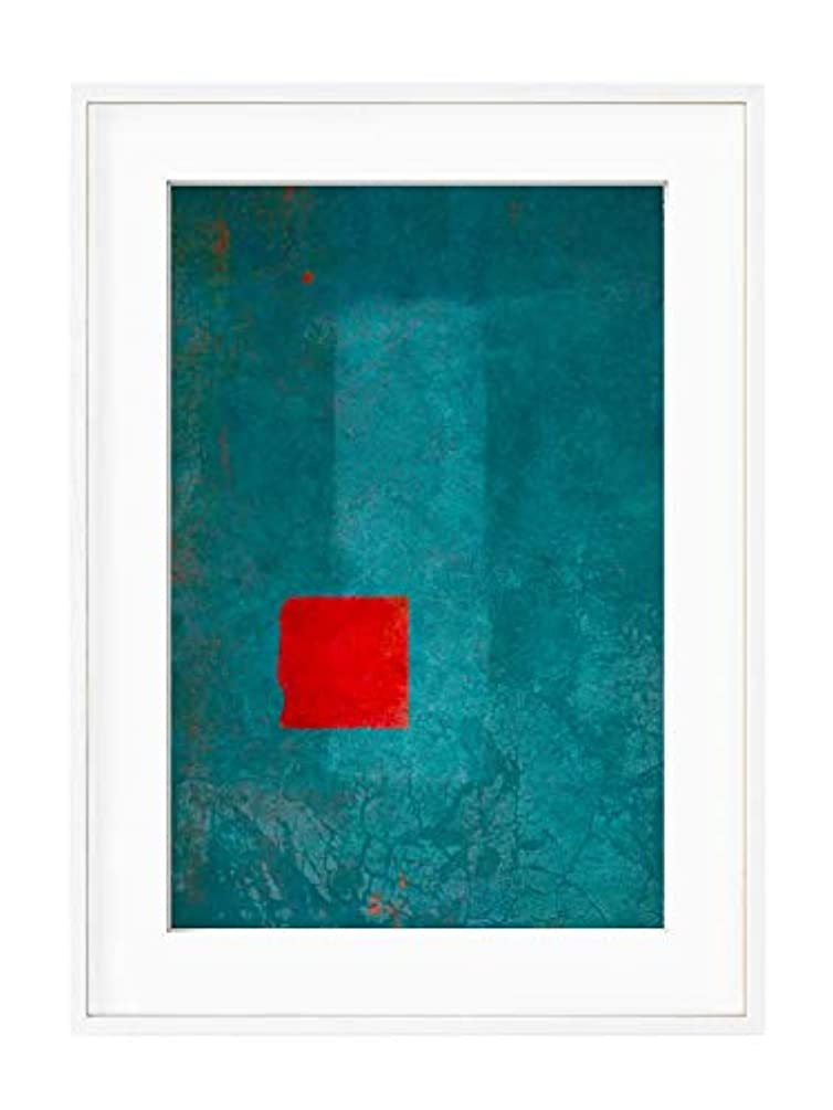 Red and Turquoise Abstract with White Lacquer Wooden Frame and Mount, Multicolored, 40x50