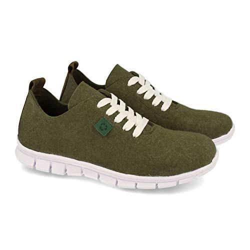 Zapatillas ecologicas para Mujer, Fabricadas con Materiales 100% reciclados y Ecologicos. Resistentes al Agua y el Calor. Eco Friendly y fio.Fabricado en Espana. Talla 41 Verde