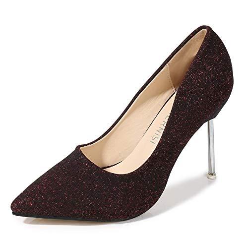 CYwinterB Zapatos de salón Mujer Purpurina Tacones Altos Sexy Elegante Punta Puntiaguda Metal Stiletto Plataforma Bomba para Cena Fiesta Oficina Fiesta Uso Diario Rojo/Negro/marrón Zapatos de Mujer