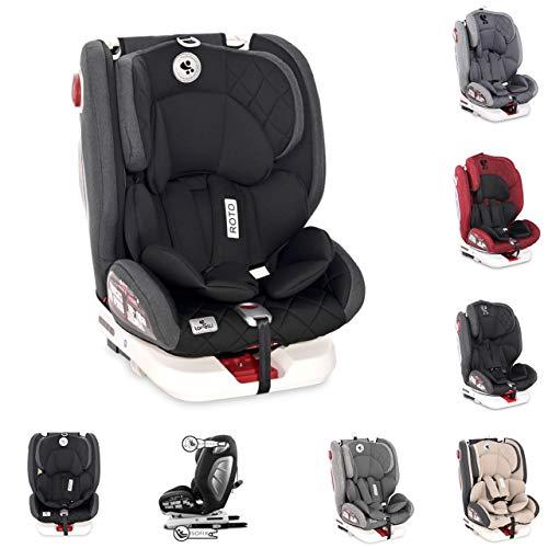 Lorelli asiento infantil Roto Isofix Top Tether SPS Grupo 0/1/2/3 (0-36kg), color:negro gris