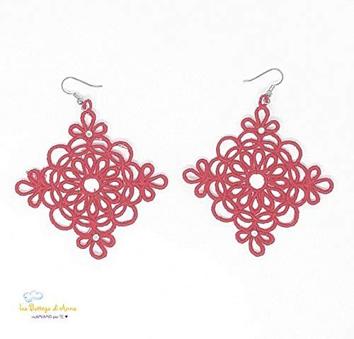 Orecchini a rombo in filo di cotone, diversi colori disponibili, La Bottega di Anna (Rosso)