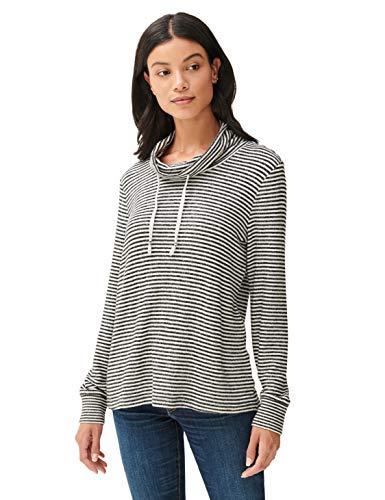Lucky Brand Women's Long Sleeve Tunnel Neck Cloud Jersey Pullover Sweatshirt, Black Stripe, M