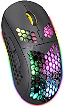 Lightweight Bluetooth Mouse, Honeycomb Rechargeable Bluetooth Wireless Gaming Mouse with USB Receiver & Type C Charge Port for Mac Laptop PC (Black)
