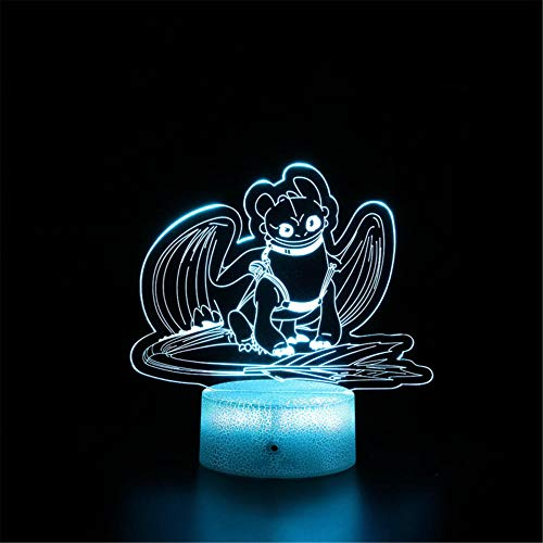 Lámpara de noche 3D ilusión 3D, sin dientes, con función de control remoto, decoración de dormitorio infantil, regalo de cumpleaños personalizado para niño