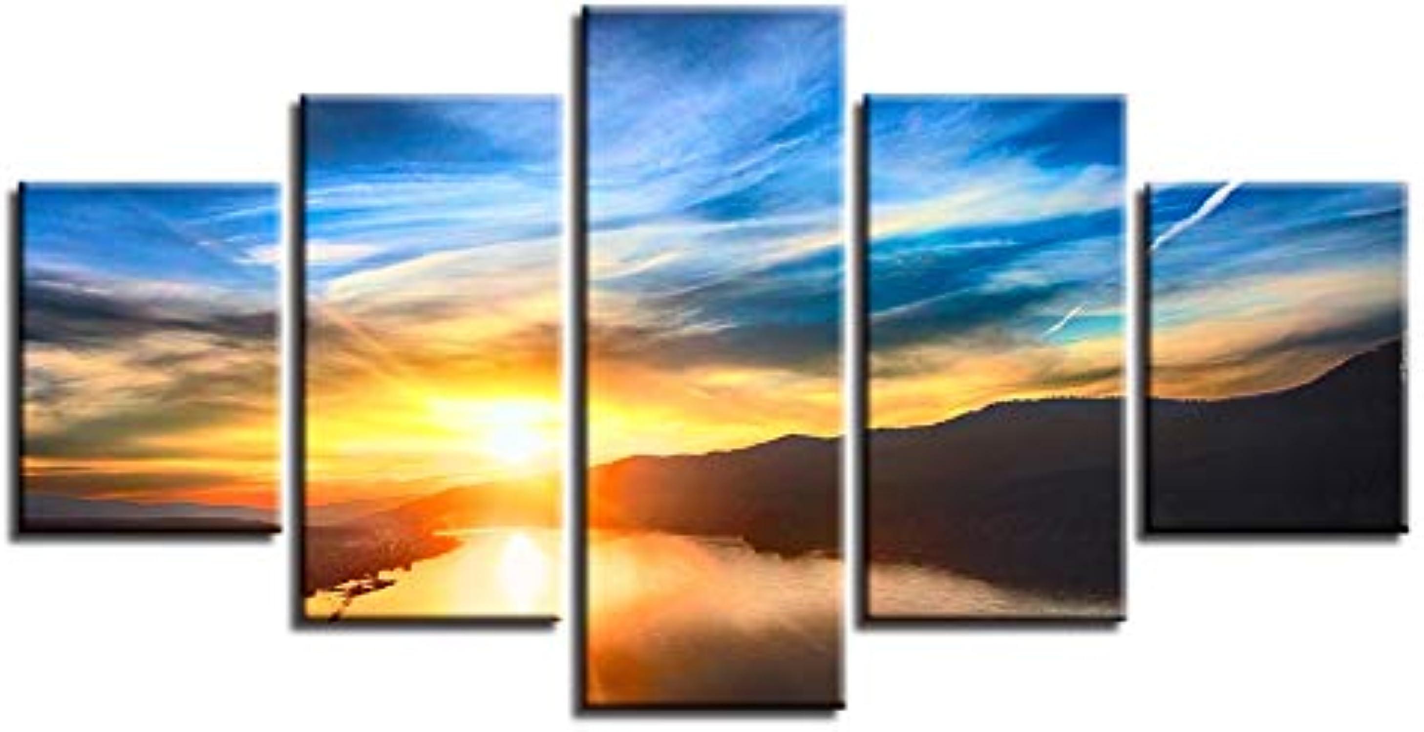 RMRM Marco HD Impreso Decoración Habitación Arte de la Parojo 5 Piezas Mountain Lake Cielo Azul Nube blancoa Imagen de póster Modular Sunset Paisaje Lienzo de Pintura 20x35cm20x45cm 20x55cm