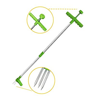 PAIU Weed Puller, Stand Up Root Removal Tool, Long Handle Garden Weeding Tool with 3 Claws, Hand Weeder Standing Puller for Dandelion, High Strength Manual Root Pulling and Picker (Green)