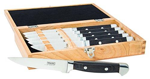 Viking Culinary High Carbon German Steel Pakka Wood Handle Steak Knife Set, 6 Piece, Black