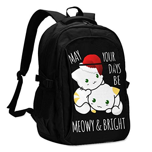 Cute Christmas Cats Brighten Your Days Business Travel Laptop Backpack, Anti-Theft Ultra-Thin Laptop Backpack (with Male and Female USB Charging Ports), Male and Female Backpacks