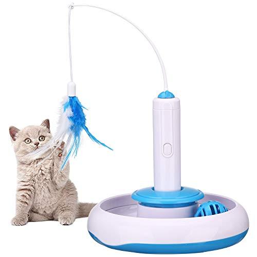 PETTOM Giocattoli per Gatti Gattino Interattivi Intelligenti, Muto Elettrico Rotante 360 Gradi Giocattolo per Gatto Teaser Piuma, Traccia Removibile Palla (Sostituisci Piuma inclusa)