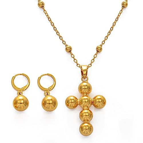 UCJHXFR Ucjhxfrwomen Cruz Colgante Collar Set Pendientes de perlas Africa Hawaii Chuuk # 235106