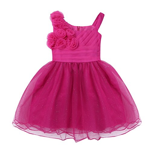 iiniim Baby Girl Sparkling Rose Flower Ruffle Layers Baptism Dress Wedding Pageant Party Christening Gown Rose 0-3 Months