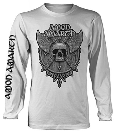 Amon Amarth 'Grey Skull' (White) Long Sleeve Shirt (Large)