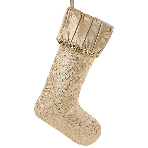 Valery Madelyn 21 inch Luxury Gold Christmas Stockings with Sequins and Ruffle Cuff, Themed with Tree Skirt (Not Included)