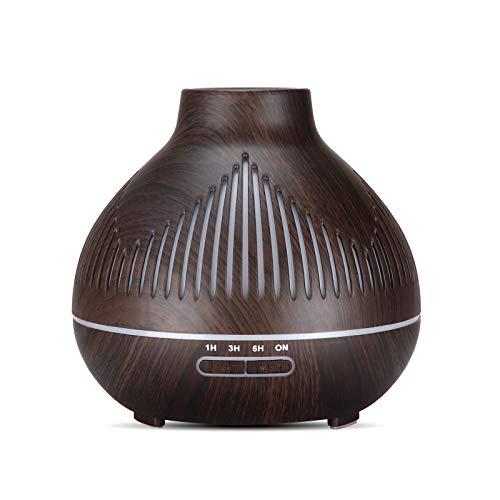 TinaDeer Aroma Diffuser mit fernbedienung, Ultraschall Öl Diffusor Holzmaserung 400ml Luftbefeuchter Aromatherapie Zerstäuber mit 7 Farben LED Licht Nachtlicht, Muttertagsgeschenk (Braun)