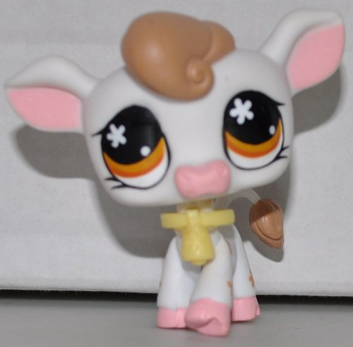 Cow #476 (White, Brown Hair, Brown Flowers on Body, Orange Eyes) Littlest Pet Shop (Retired) Collector Toy - LPS Collectible Replacement Single Figure - Loose (OOP Out of Package & Print)