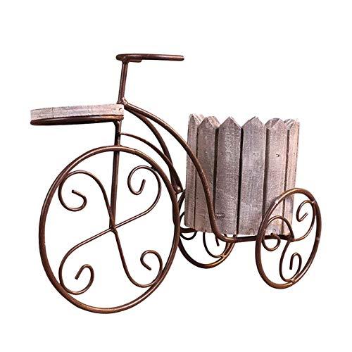 Baoblaze Creativo jardín Maceta de Hierro Europeo Bicicleta florero Estante Titular de la Planta Estante artesanías Sala de Estar Porche decoración Regalo de - Gris