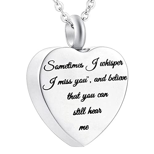 PicZhiwenture Heart Urn Necklace for Ashes Memorial Jewelry Stainless Steel Ashes Keepsake Memorial Urn Jewelry