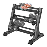 Yoleo 3 Tier Dumbbell Rack Stand Only for Home Gym, Adjustable Width Weight Rack for Dumbbells of...
