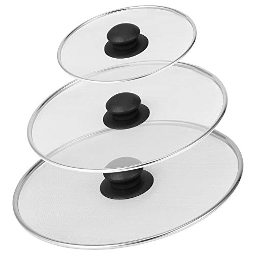 3 Stück Spritzschutz, Edelstahl Spritzschut für Pfannen Bratpfanne Öl Proofing Deckel,zum Verhindern von Öl-, Fett- oder Wasserspritzer für viele Praktische Küchen Proofing Deckel