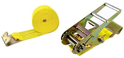"""ProGrip 315800 Yellow Webbing 27' x 3"""" Heavy Duty Ratchet with Zinc Plated Handle and Flat Hook"""
