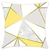 N\A Papel Pintado metálico de mármol de Zara Funda de Almohada de Tiro de Oro Mostaza Funda de cojín Decorativo para el hogar Algodón para sofá Dormitorio