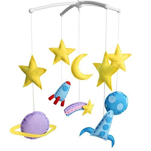 Espace fusée à la Main bébé Berceau Mobile Mignon Lune étoile bébé Musical Mobile Enfants Chambre pépinière décor pour garçons