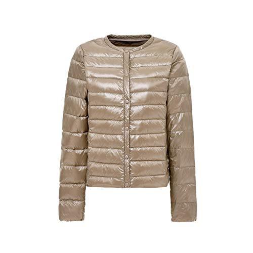 Damen Alternative Daunenjacke Leichte Warme Winterjacke mit Tasche Gr. 48, champagnerfarben