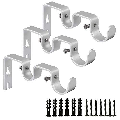 INCOLENI 3PCS Curtain Rod Bracket,Double Curtain Rod Hanging Brackets Wall Mount Heavy Duty,Adjustable Curtain Rod Holders Hardware for Window, Bedroom, Home Curtain rods,Drapery Rod(Silver)