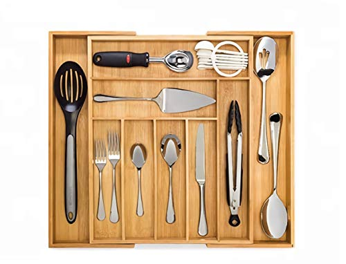 Erden Bamboo Expandable Drawer Organizer for Utensils Holder, Adjustable Cutlery Tray, Drawer Dividers Organizer for Silverware, Flatware, Knives in Kitchen, Bedroom (7 to 9 Compartments Expandable)