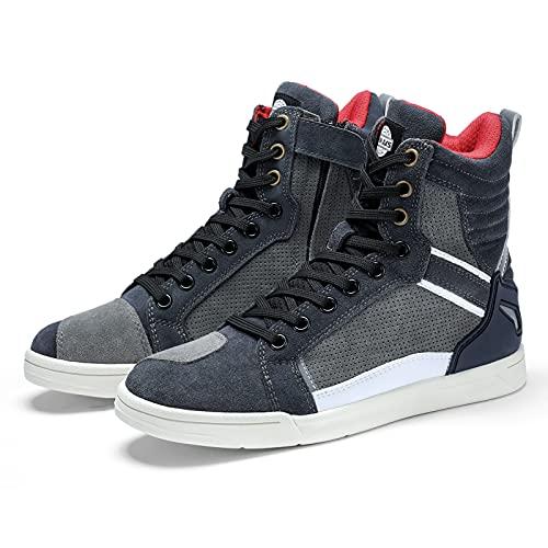 Zapatos para Montar en Moto Botas Protectoras de Motocross Road Street para Los Hombres, Zapatos Deportivos Casuales Transpirables, Gris, Taille 44