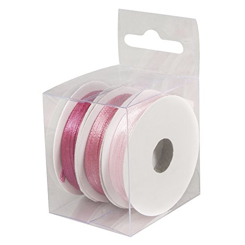 Rayher 5166516 Satinbänder, 3mm, 3 Rollen à 6 m, Box 18m, rosé
