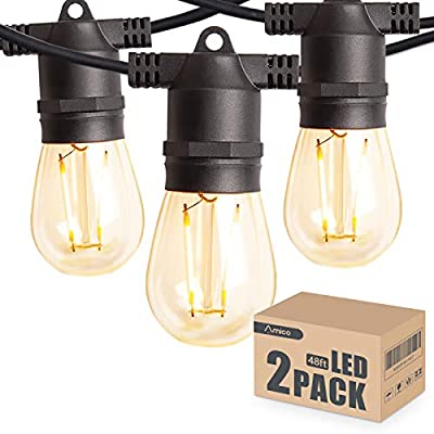 Amico 2 Pack 48FT LED Outdoor String Lights with LED Edison VintagePlastic Bulbs and Weatherproof Strand - Decorative LED Café Patio Light, Bistro Lights