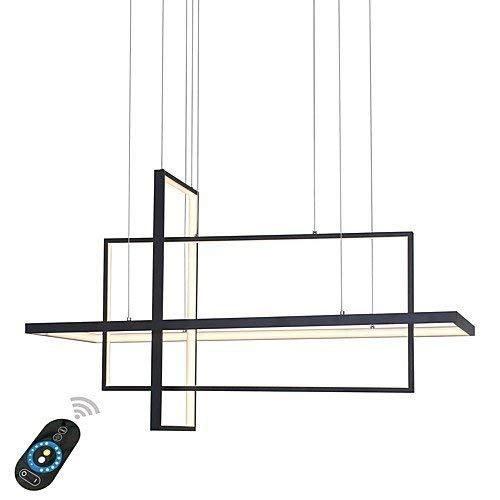 LightInTheBox 现代 LED 天花板灯可调光枝形吊灯铝漆照明灯具 6000LM 3000/4500K 适用于客厅卧室 黑色 Dimmable With Remote Control S66545790000P##wh=7