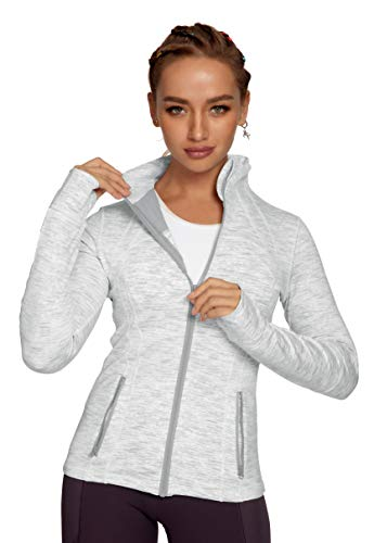 QUEENIEKE Women's Sports Define Jacket Slim Fit and Cottony-Soft Handfeel Size M Color White Space Dye