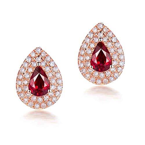 AtHomeShop Auténtica colección de oro rosa de 18 quilates, pendientes en forma de gota de agua, con lágrima brillante de 1 ct, rubí y diamante para madre amiga, oro rosa rojo
