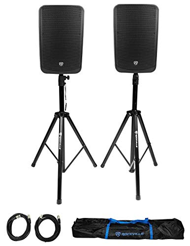 """2 Rockville TITAN 15 15"""" 2000w Active DJ PA Speakers/Bluetooth/DSP+Stands+Cables"""