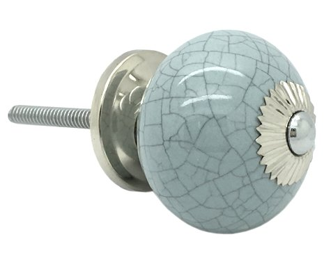 G Decor Gris craquelé Ronde en céramique Style Shabby Chic Bouton de Porte de Placard/tiroir Poignée de tirage GY 4506