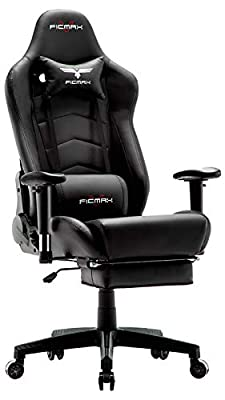 Ficmax Ergonomic Massage Gaming Chair Reclining Racing Office Chair High Back PU Leather Computer Desk Chair with Footrest Big and Tall E-Sports Chairwith Headrest and Lumbar Support