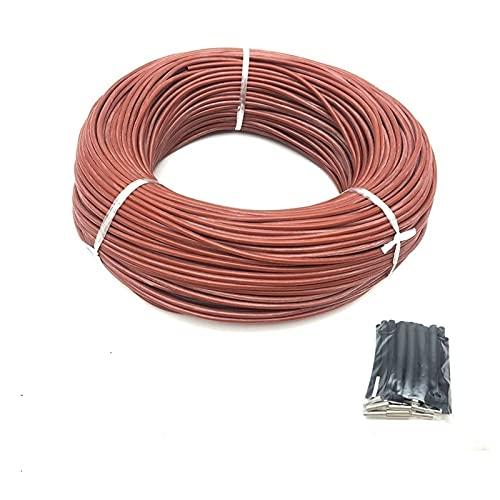 NLLeZ 1 UNID 100m Cable de Calentamiento infrarrojo 12K 33OHM / M Alambre de Calentamiento de Fibra de Carbono de Silicona para Piso Caliente con termostato de Controlador de Temperatura