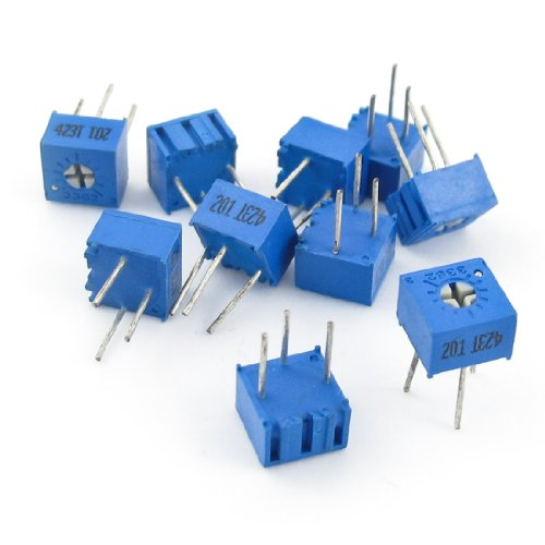 Aexit 3362P-1-201 Single Fixed Resistors Turn Trimmer Pot Potentiometer 200 Ohm 10 Pcs for Single Resistors Mp3 Mp4