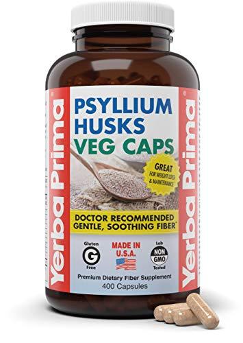 Yerba Prima Psyllium Husks Veg Caps, 400 Capsules (625mg) - Vegan, Non-GMO, Gluten Free, Colon Cleanser, Daily Fiber Supplement (Packaging May Vary - New Label Coming Soon)