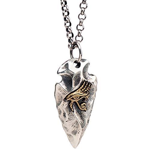 FORFOX Vintage 925 Sterling Silber Pfeilspitze Anhänger Halskette mit Ägyptischer Gold Auge des Horus für Herren Jungen