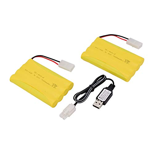 Ni-Cd AA-Batterien, 9,6 V, 700 mAh, wiederaufladbar, für Fernbedienung, Elektroauto, Spielzeug, KET-2P Stecker, Nicd 9,6 V Volt-Akku, 2 Stück