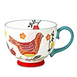 Livfodrm Tazas de café grandes de cerámica con asa, taza de café de 15 onzas con diseño de pájaro pintado a mano, taza 3D para té, avena, leche de avena, color verde