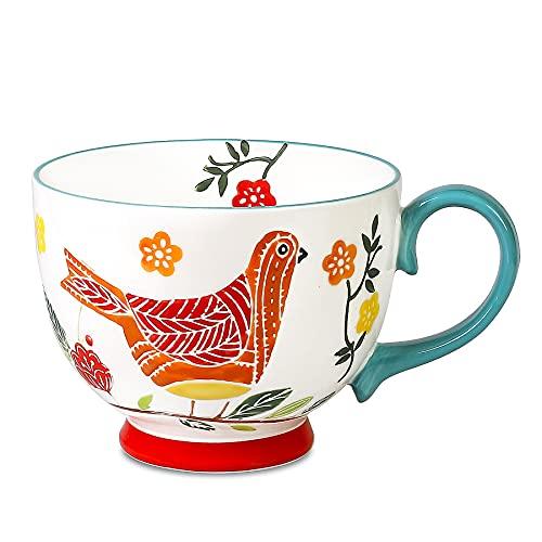 Livfodrm kaffeebecher Vintage Tasse Keramik kaffeetassen groß Frühstücksbecher Suppenschüssel 15 Unzen Keramiktasse Handbemalte Blume Vogel Müslischalen (Grün)