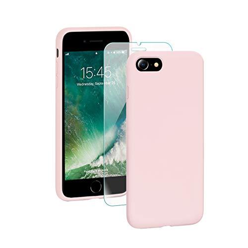 SmartDevil Funda Adecuada para iPhone SE 2020/8/7 +Protector de Pantalla, [Totalmente Protectora] Funda de Gel de Silicona líquida Funda,Microfibra Suave Cojín para iPhone SE 2020/8/7-Rosa