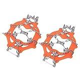 RiToEasysports Crampones de 19 Tacos, agarres para Hielo y Nieve Grampones Antideslizantes Calzado elástico sin Cordones para Senderismo Accesorios de Escalada(L-Naranja)