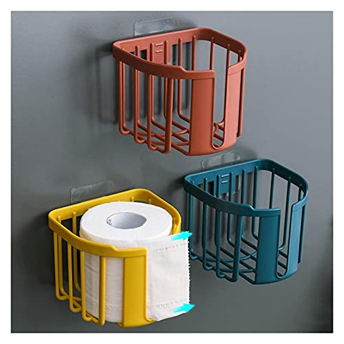 LUNHOME Bathroom Toilet Paper Rack, Adhesive Organizer, No-Drill Leachate Large Capacity Holder (Color : Red)