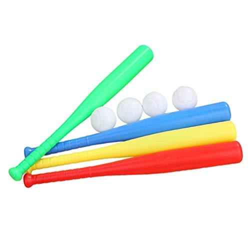 LIOOBO 4 Juegos Juguete de Béisbol de Plástico Bate de Béisbol Pelota de Béisbol Juguete de Deporte para Niños