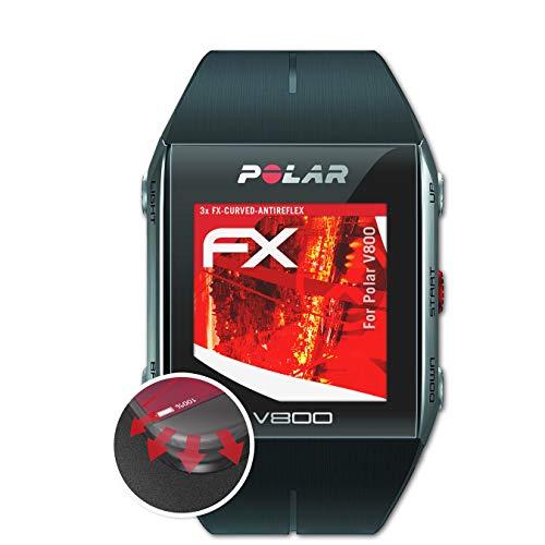 atFoliX Schutzfolie kompatibel mit Polar V800 Folie, entspiegelnde & Flexible FX Bildschirmschutzfolie (3X)